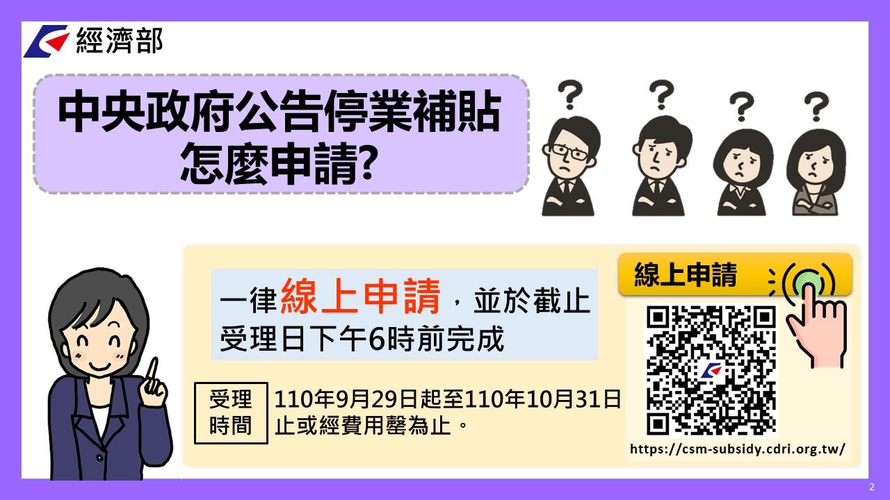 停業補貼受理時間自110年9月29起至110年10月31日止或經費用罄為止,一律採線上申請。